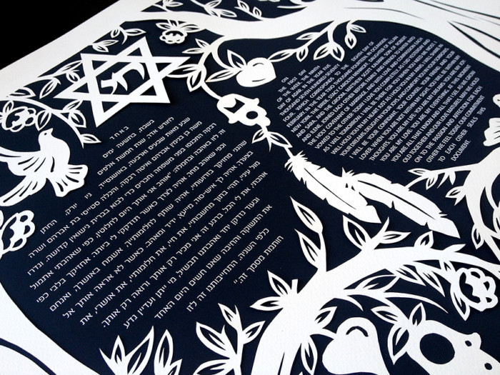 Custom Papercut Ketubah With Feathers and Dove