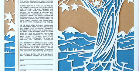 Papercut Ketubah With Custom Mountains Skyline
