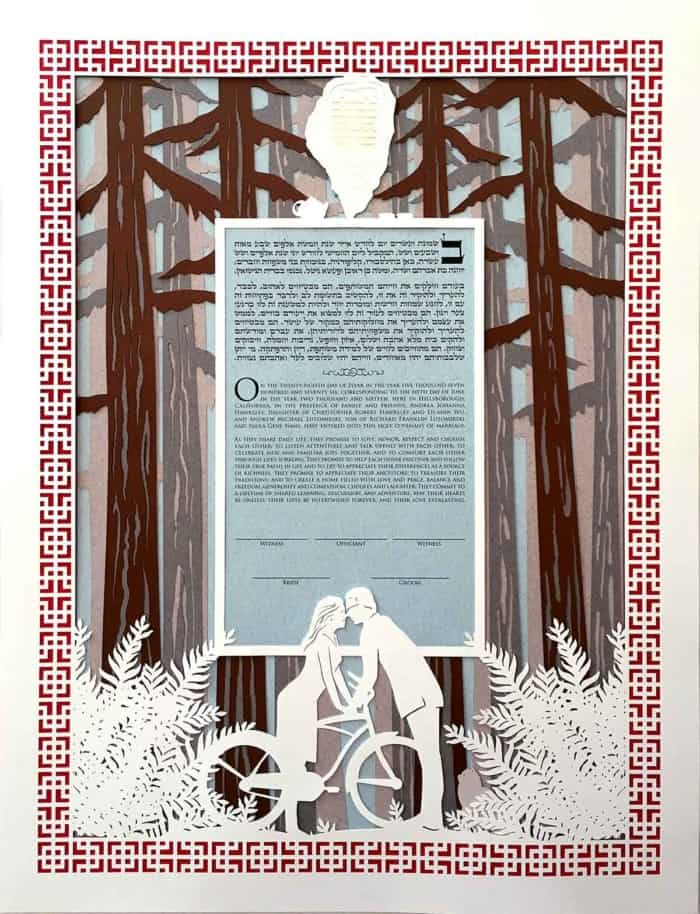 Custom Ketubah Redwood Forest