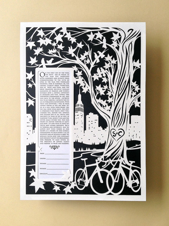 NYC Roses Papercut Ketubah Black Background