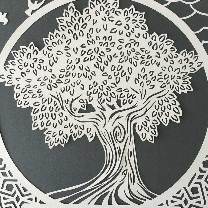 Ketubah with tree and arabesque dark gray 2