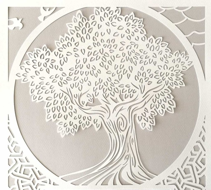 Ketubah with tree and arabesque pearl 2