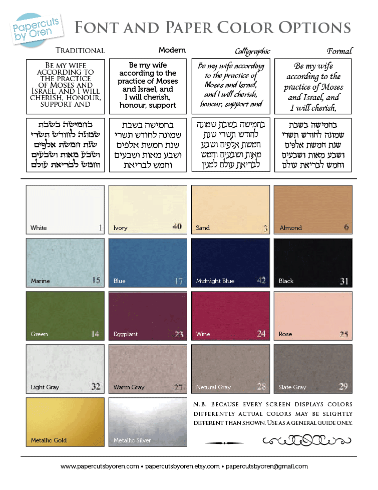 Ketubah colors and fonts